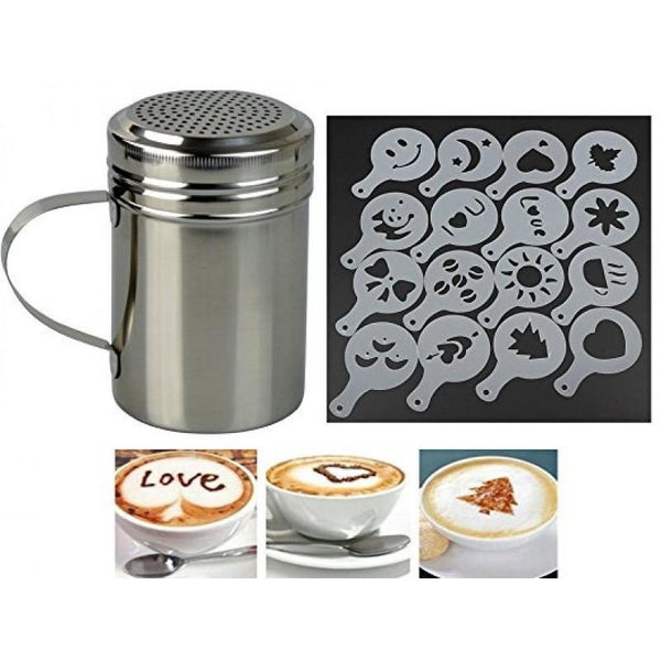 Stainless Steel Chocolate Shaker With 16 Barista Stencils
