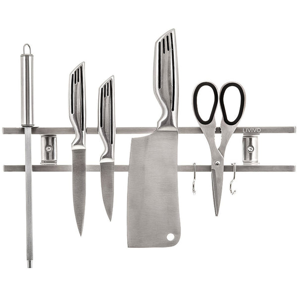 Magnetic Knife Rack With Hooks