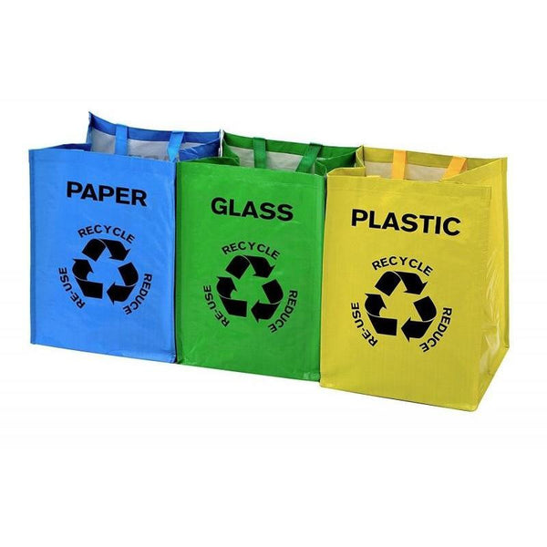 Set of 3 Large Multicoloured Recycling Bags