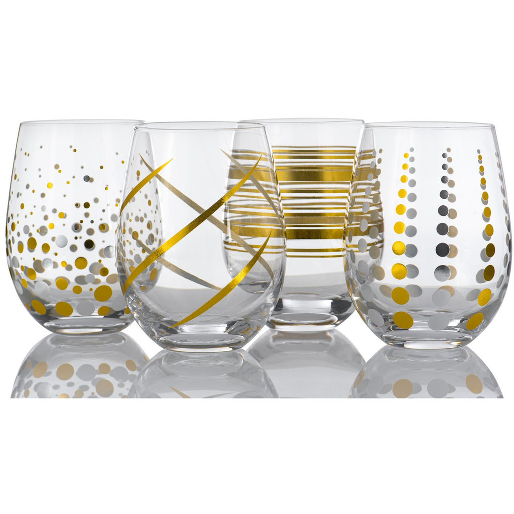 Set of 4 Stemless Goblet Glasses With Decal