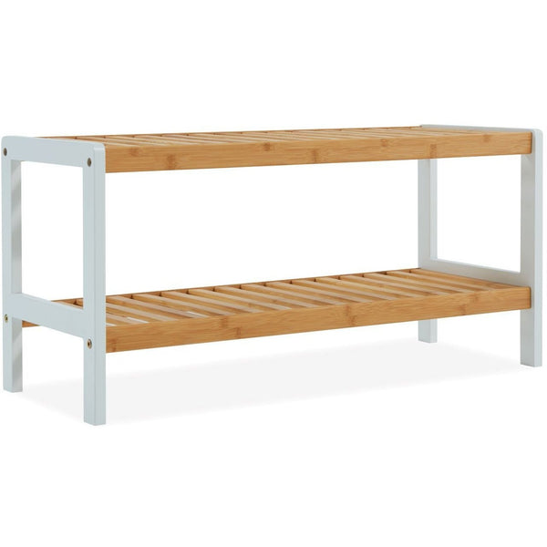 2 Tier Bamboo Shoe Rack - White