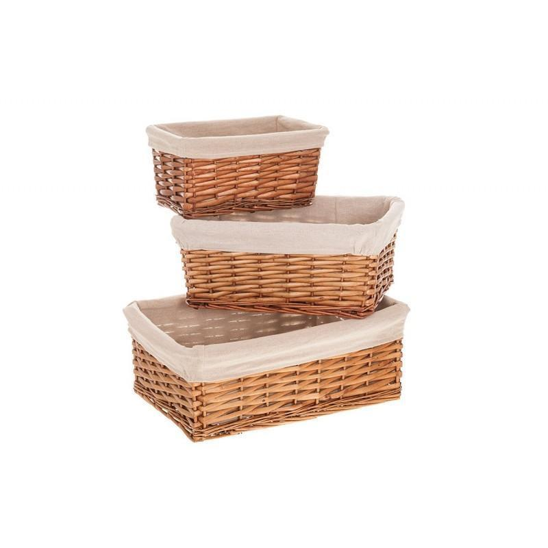 Set of 3 Brown Wicker Baskets
