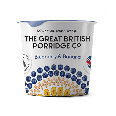 The Great British Porridge Co. Single Pot Porridge - Blueberry & Banana Pack of 8