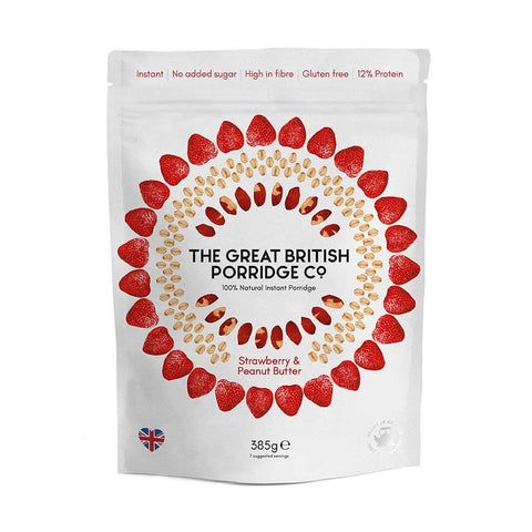 The Great British Porridge Co. - Strawberry & Peanut Butter Porridge 4 x 385g