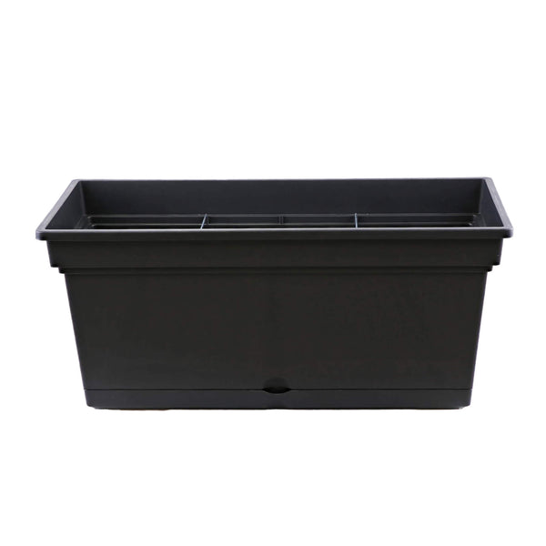 78cm large black plastic trough planter