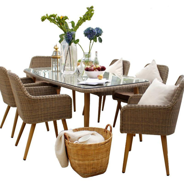 Paxton 6 Seater Rattan Patio Dining Set with Cushions - Gardenesque