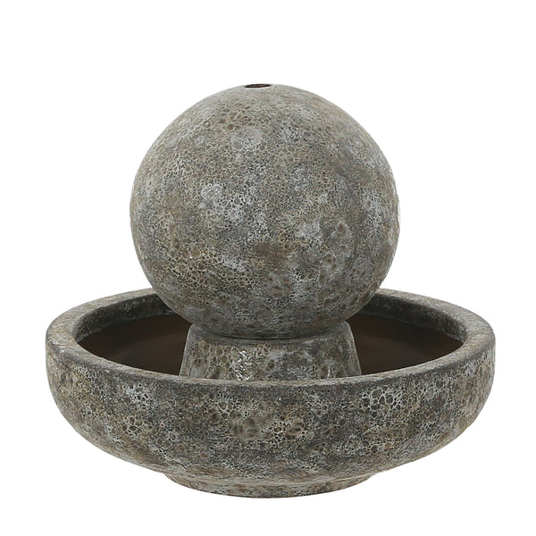 Salt Glaze Globe Water Feature with Pump - Gardenesque