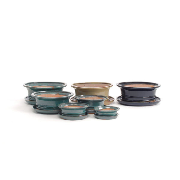 Syoro Oval Bonsai Pot & Saucer Set - Multiple Colours, 5 Sizes - Gardenesque