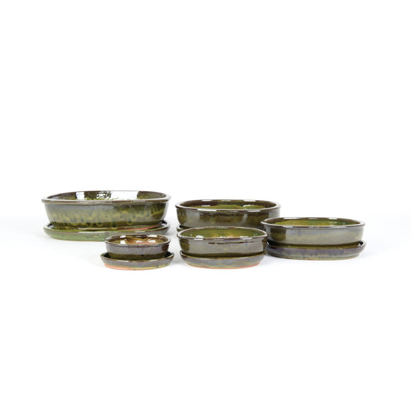 Vokura Oval Bonsai Pot & Saucer Set - 2 Colours - 5 Sizes - Gardenesque