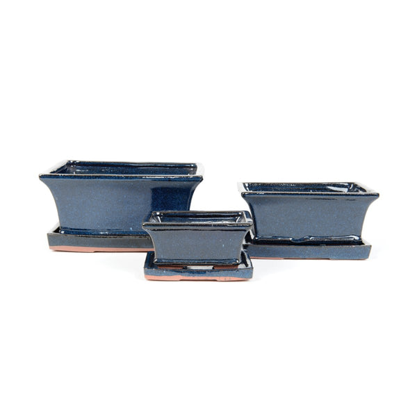 Tenmei Rectangular Dark Blue Bonsai Plant Pot & Saucer Set - Gardenesque