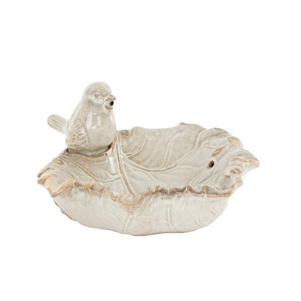 Ceramic Bird & Leaf Bowl Water Feature with Pump - Gardenesque