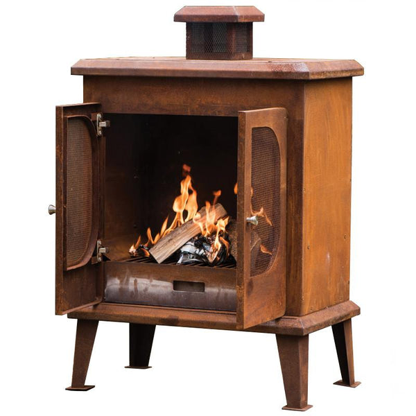 Wakehurst Outdoor Rustic Steel Fireplace - Rust finish - Gardenesque