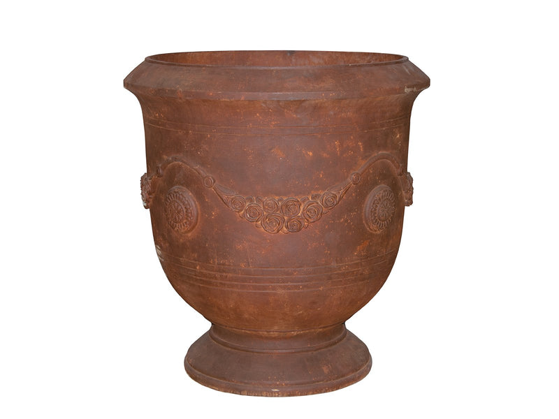 Fibreclay Rusted Finish Garden Urn with Drainage Hole - 2 Sizes - Gardenesque