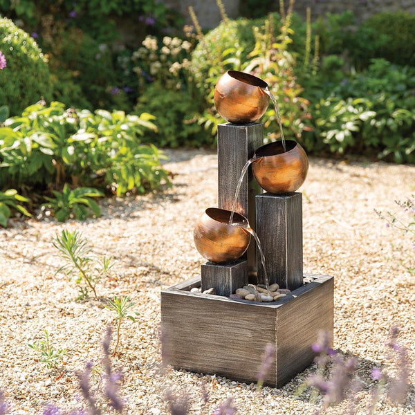 Copper Bowls 3 Tier Water Feature with LED Lights - Gardenesque