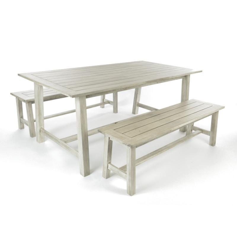 Repton Picnic Style Wooden Table and Benches Furniture Set - Gardenesque