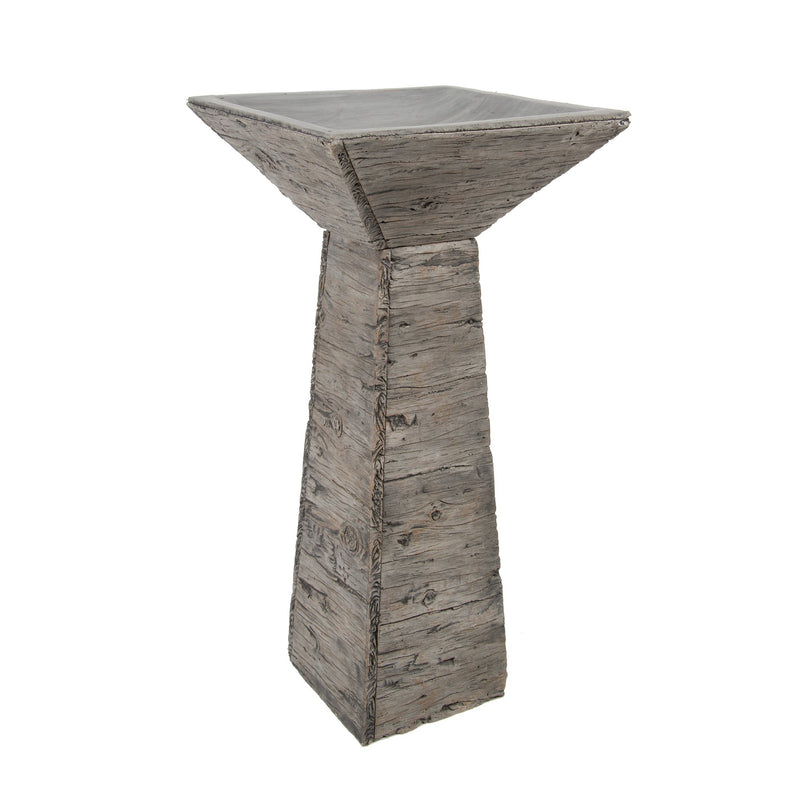 Wood Effect Bird Bath with Detachable Top - Gardenesque
