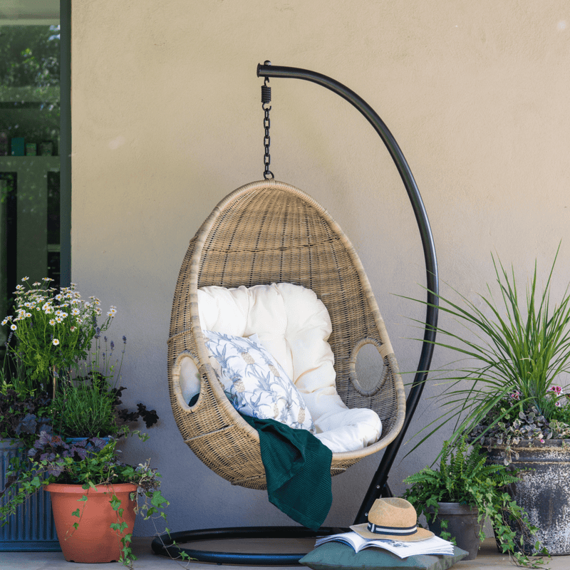 Paxton Swinging Egg Chair with Cream Cushion - Gardenesque