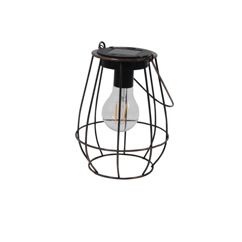 Edison Copper Cage LED Solar Lantern