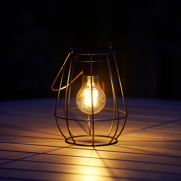 Edison Copper Cage LED Solar Lantern 2 Lumens available at gardenesque.com