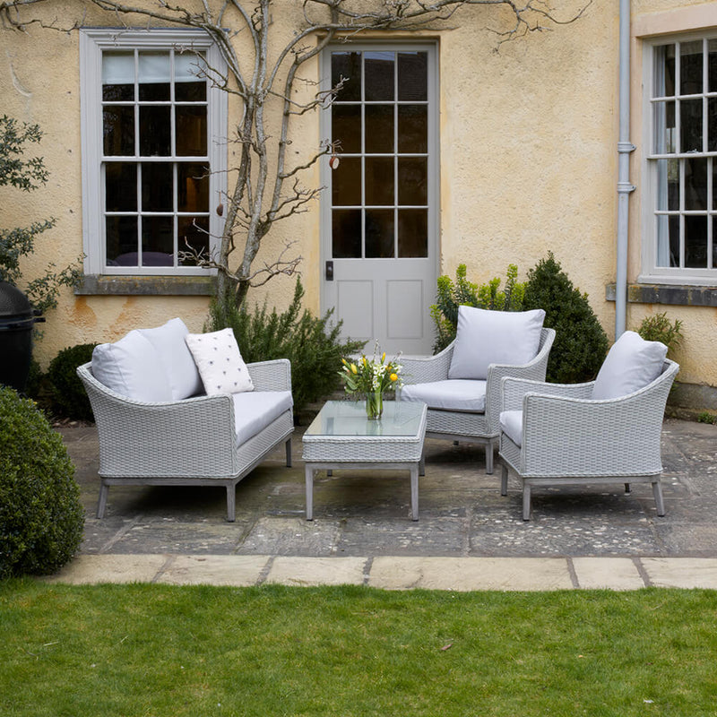Paxton 4 Piece Rattan Garden Furniture Set with Cushions available at gardenesque.com