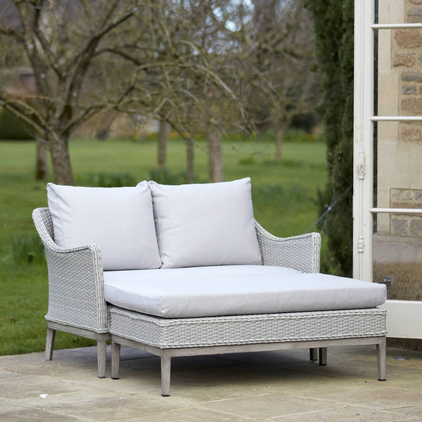 Paxton Rattan Garden Day Bed with Cushions | Gardenesque