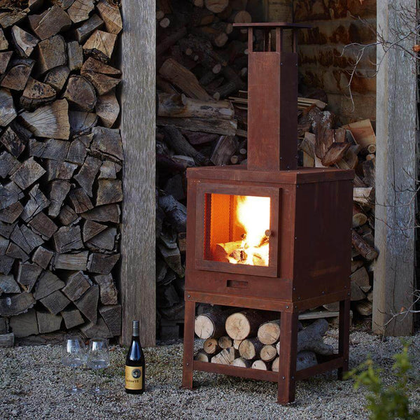 Wakehurst Outdoor Fireplace with Wood Storage