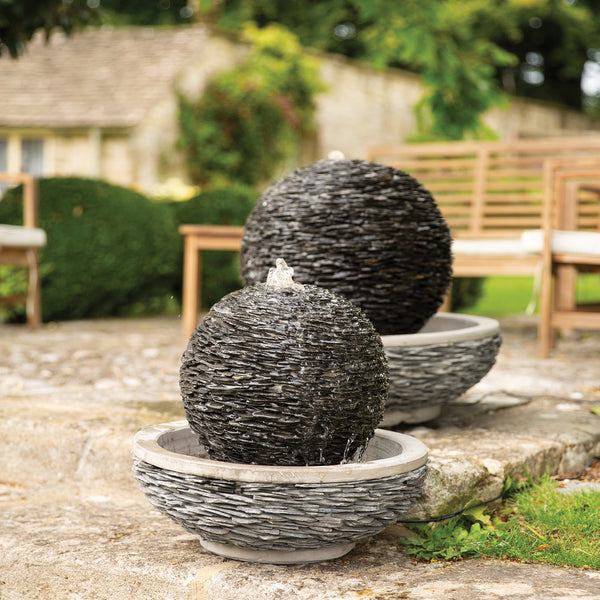 Globe Slate Garden Water Feature with LED Light - 2 Sizes - Gardenesque