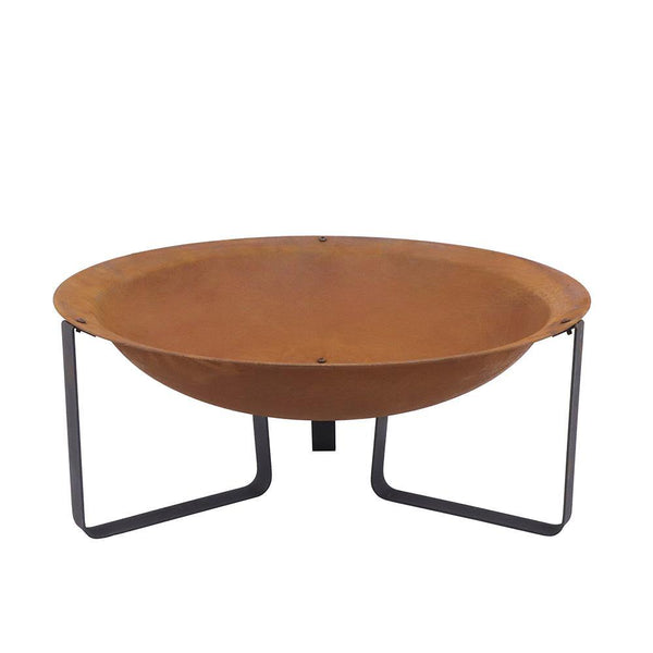 Wakehurst Helston Outdoor Fire Pit With Legs - Rust Finish - Gardenesque