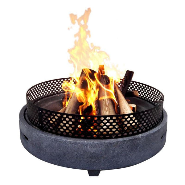 Hoole Grey & Steel Low Level Fire Pit - Gardenesque