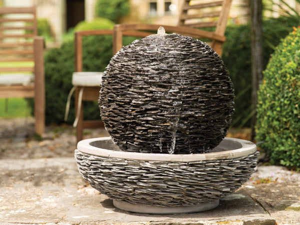 Globe Slate Water Feature with LED Light - Gardenesque