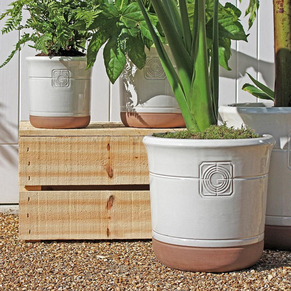 Loudon White Smoke Classical Glazed Planter - Gardenesque