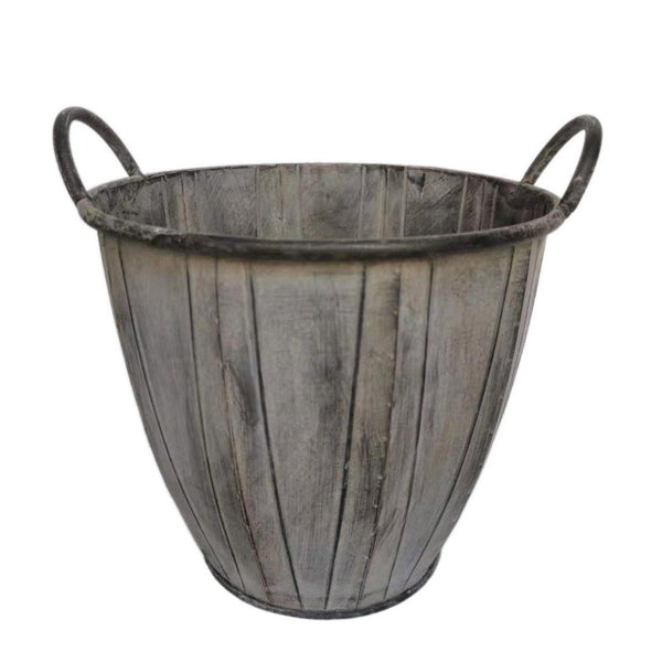Ellham Metal Slatted Bucket Planter with Handles - Gardenesque