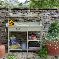 Potting Bench with Hooks, Drawer & Dry Sink