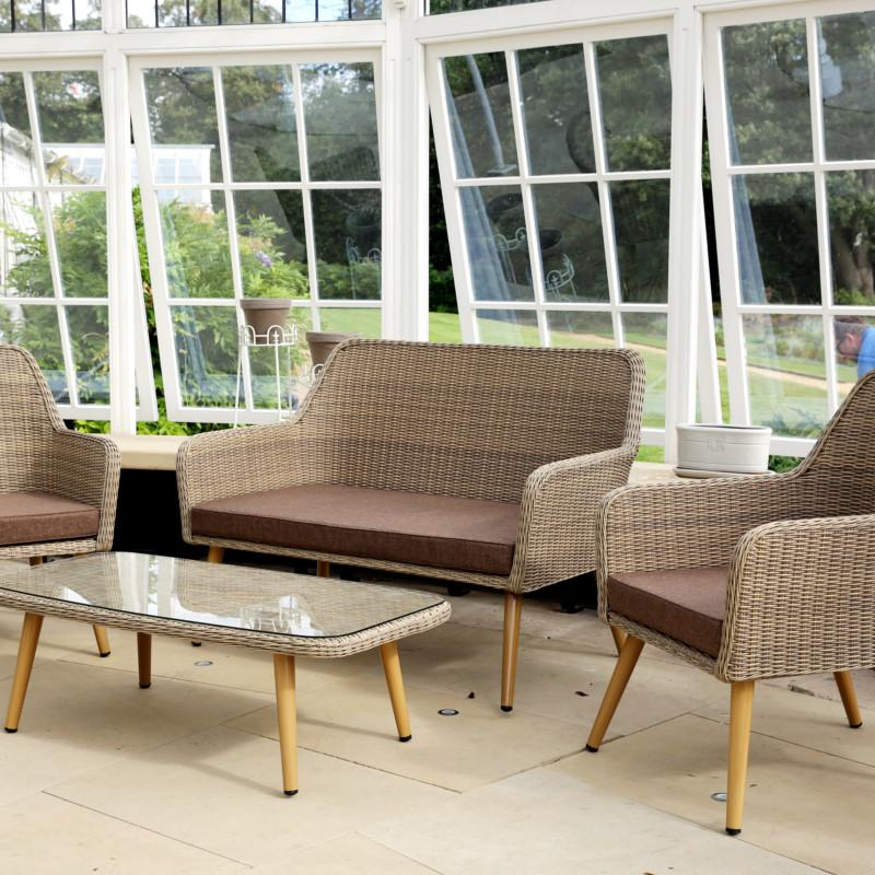 Paxton 4 Seater Rattan Garden Furniture Set with Cushions - Gardenesque
