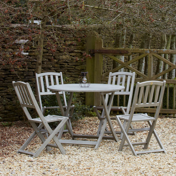 Repton Eucalyptus Wood Table & Four Chairs Garden Bistro Set | Gardenesque