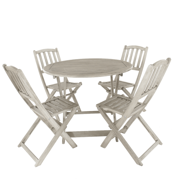 Repton Eucalyptus Wood Table & Four Chairs Garden Bistro Set - Gardenesque