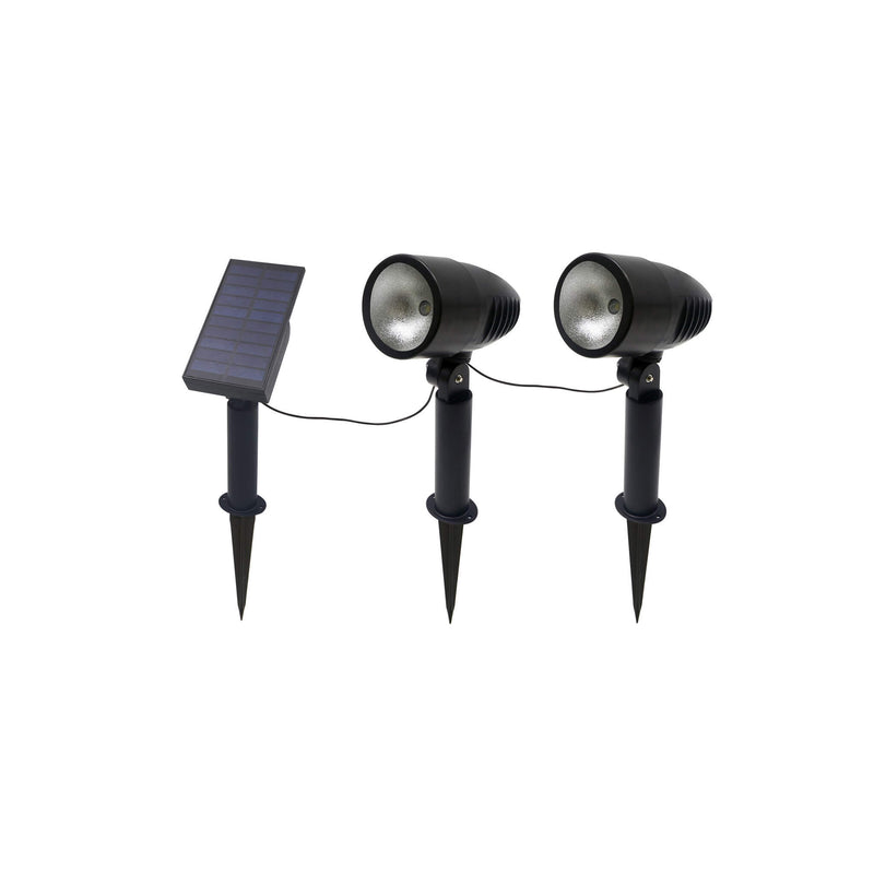 Set of 2 LED Solar Powered Spotlights Gardenesque