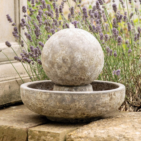 Salt Glaze Sphere Water Feature with Pump - Gardenesque