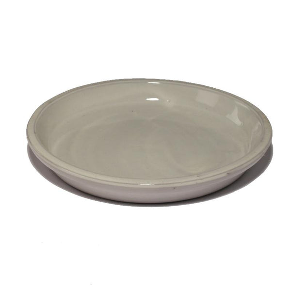 Glazed Ceramic White Smoke Pot Saucer - Packs of 3, 5 and 10 - Gardenesque