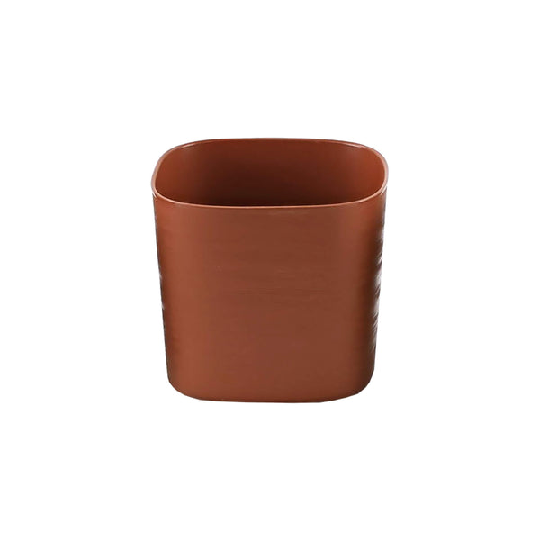 brown plastic self-watering planter