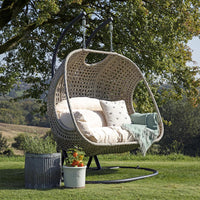 Paxton Rattan Double Hanging Egg Chair with Cream Cushions