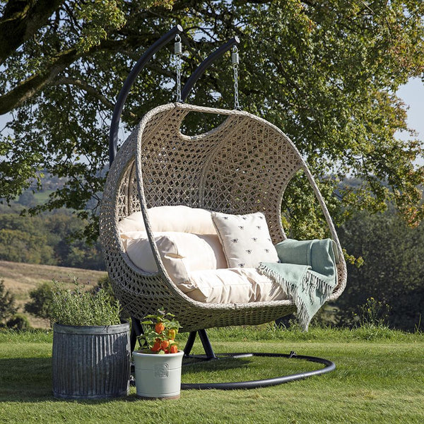 Paxton Rattan Double Hanging Egg Chair with Cream Cushions - Gardenesque