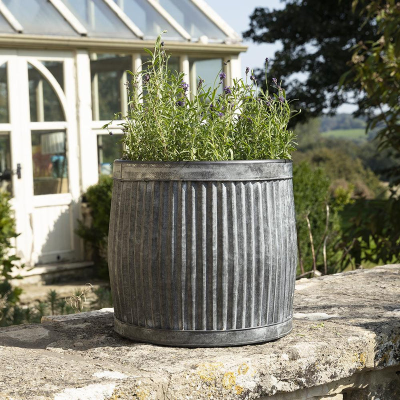 Ellham Metal Ribbed Barrel Planter - Gardenesque