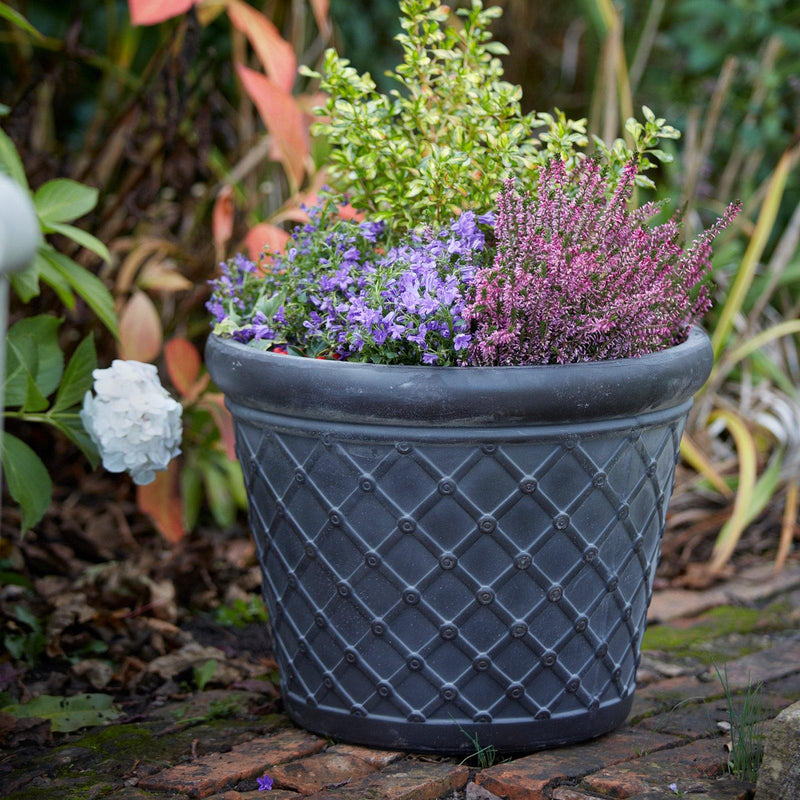 Set of 2 Lattice Fibreclay Garden Planters with Drainage available at gardenesque