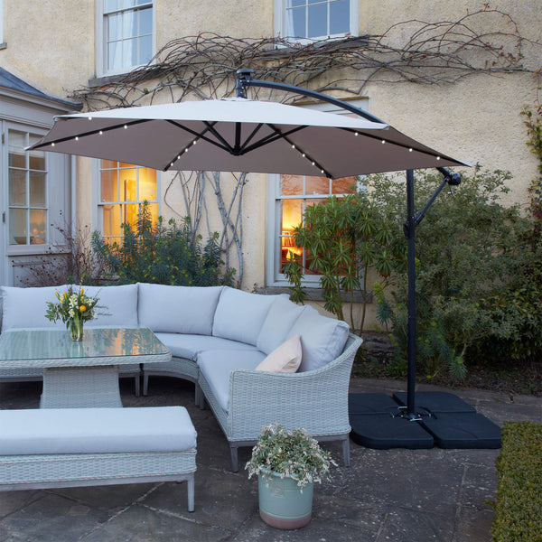 large garden parasol with led lights