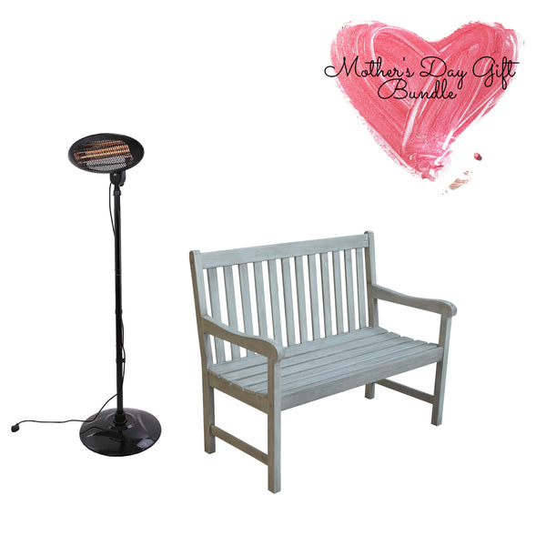 electric patio heater and wooden garden bench gardenesque