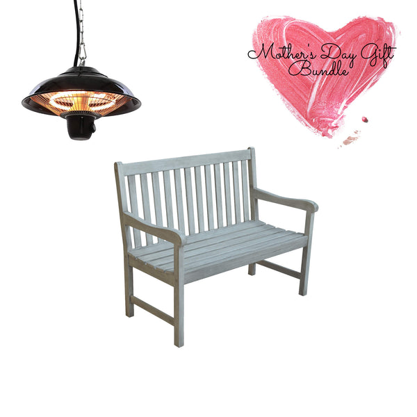electric patio heater & wooden bench gardenesque mothers day