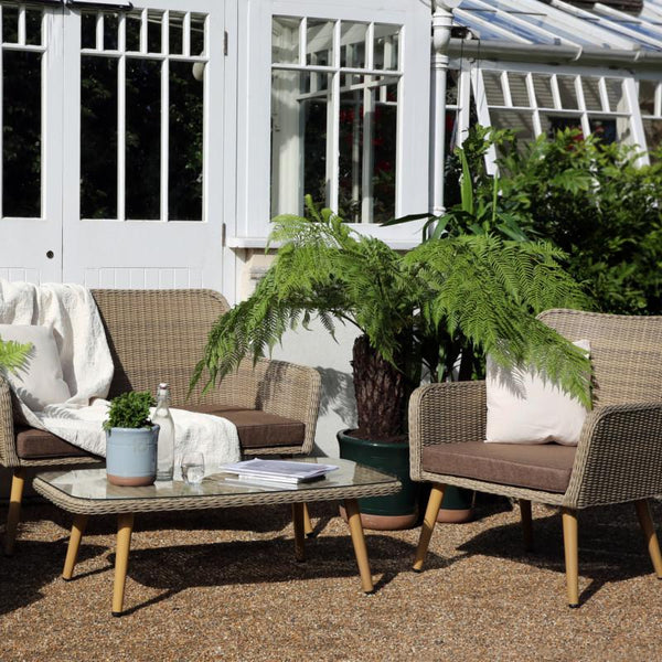 Paxton 4 Piece Rattan Furniture Set with Cushions - Gardenesque