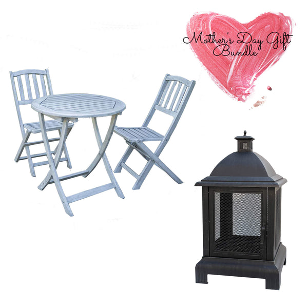 seaton fire pit and garden bistro set