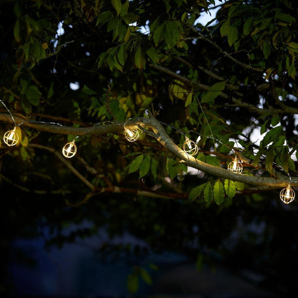 Copper Sphere LED Solar String Lights